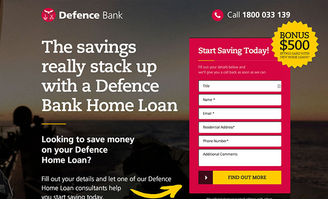 Defence Bank Landing Page