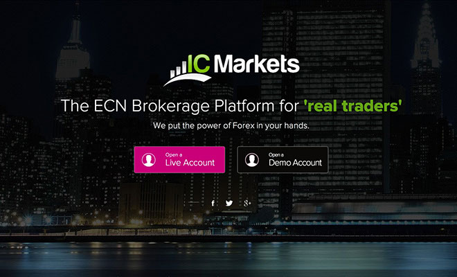 IC Markets Landing Page