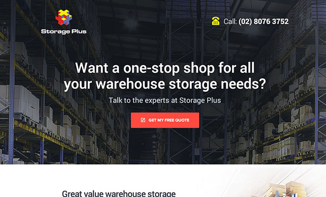 Storage Plus Landing Page