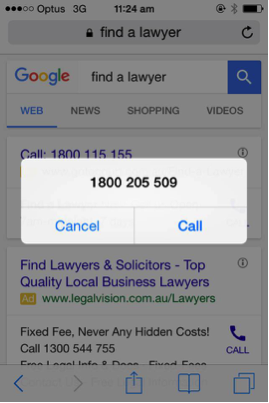 Screenshot of option to take or discard phone call