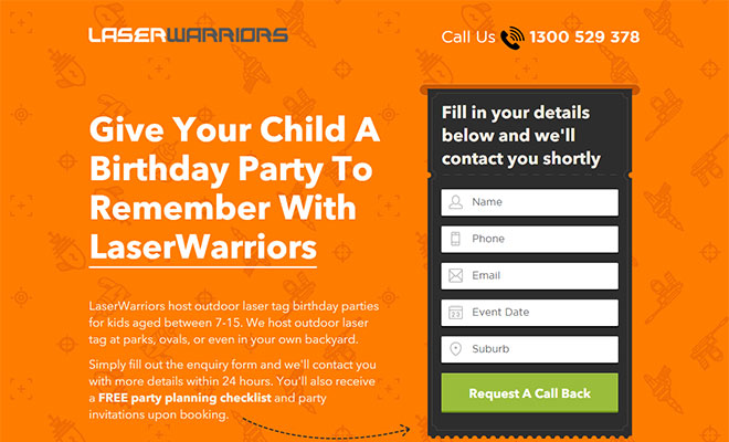 Laser Warriors Landing Page